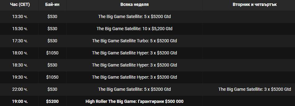 Покер турнир голямата игра