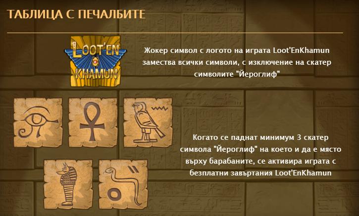 Онлайн ротативка с пирамиди Loot enkhamuun