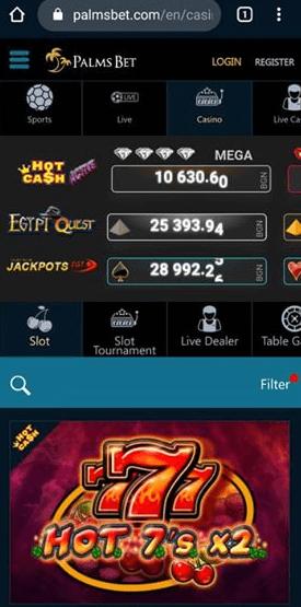 Мобилна версия на казино Палмс бет