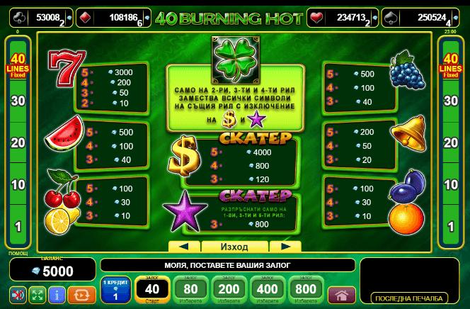 Burning hot -казино игри 40 линии безплатно правила
