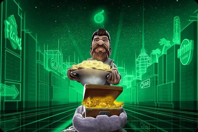 Gonzo-Figur mit Goldkiste in grünem Hintergrund