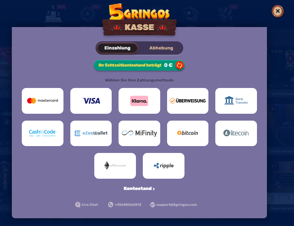 5Gringos Einzahlungsmethoden