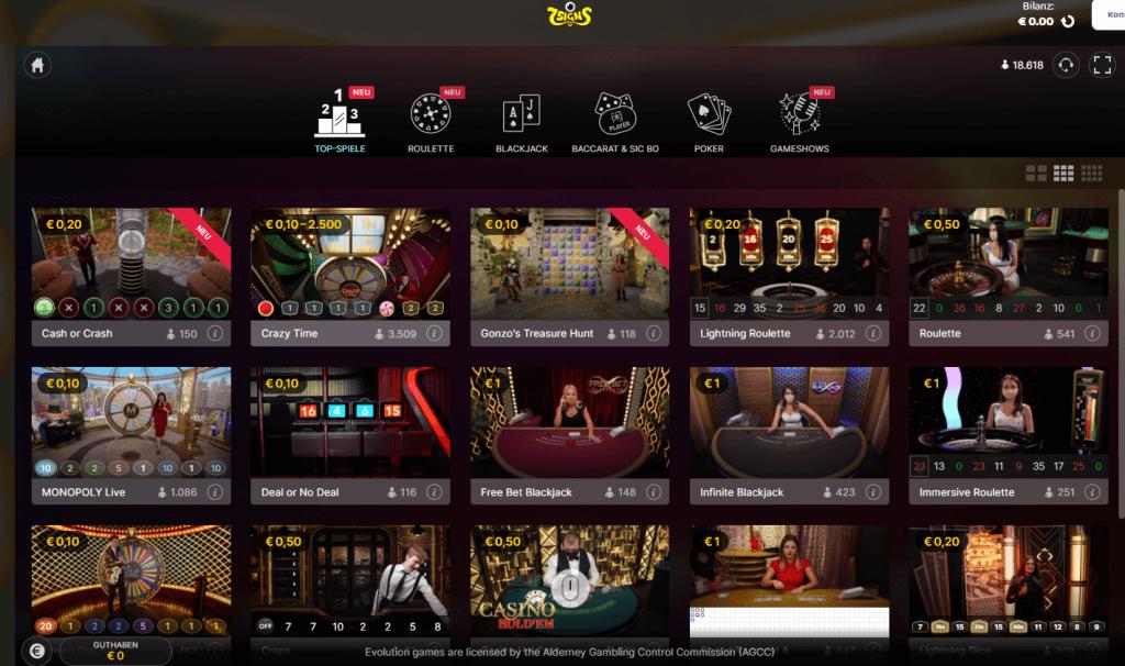 7Signs Live Casino Lobby