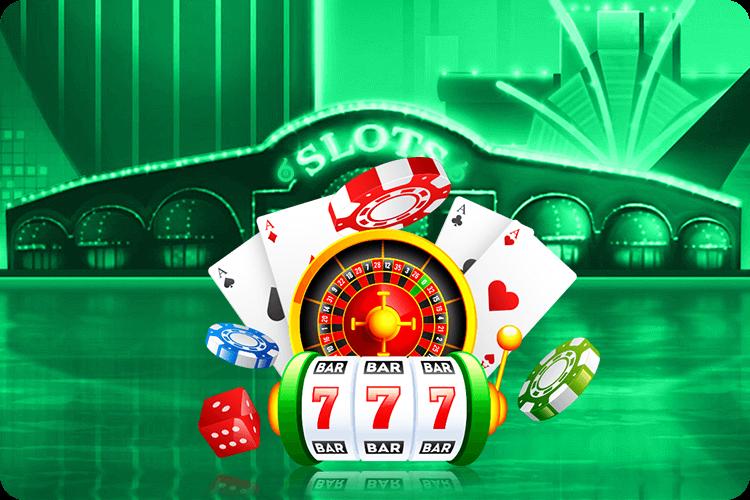 Slot-Illustration mit Karten, Würfel und Roulette