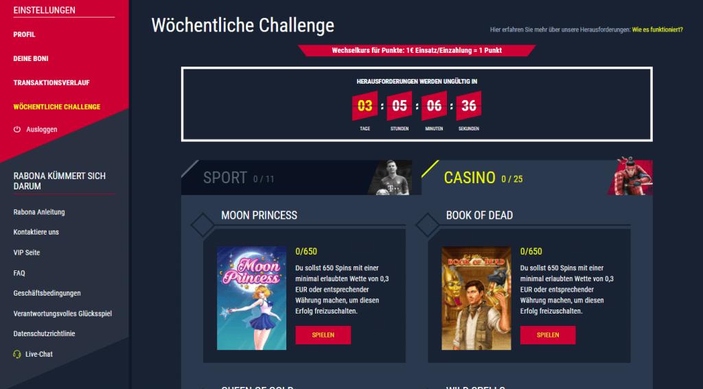 Rabona Casino Challenges