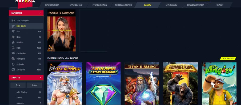 Rabona Casino Spielauswahl