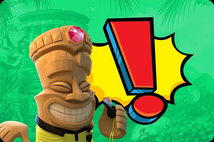 Aloha-Figur mit rotem Ausrufezeichen